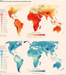 Mapa de distribuição de irradiação solar e potencial eólico no mundo